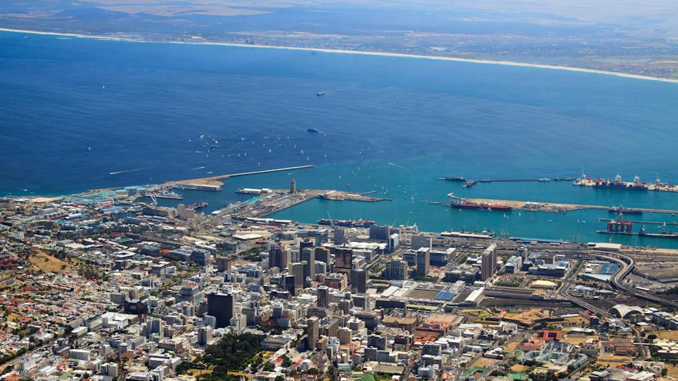 Uitzicht op Kaapstad vanaf Tafelberg, 2 januari 2011
