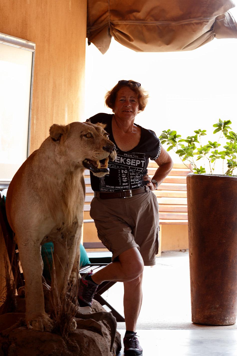 Sonja, hoe gevaarlijk, met leeuw | Phalaborwa, Silonque Bush Estate – 27 november 2014